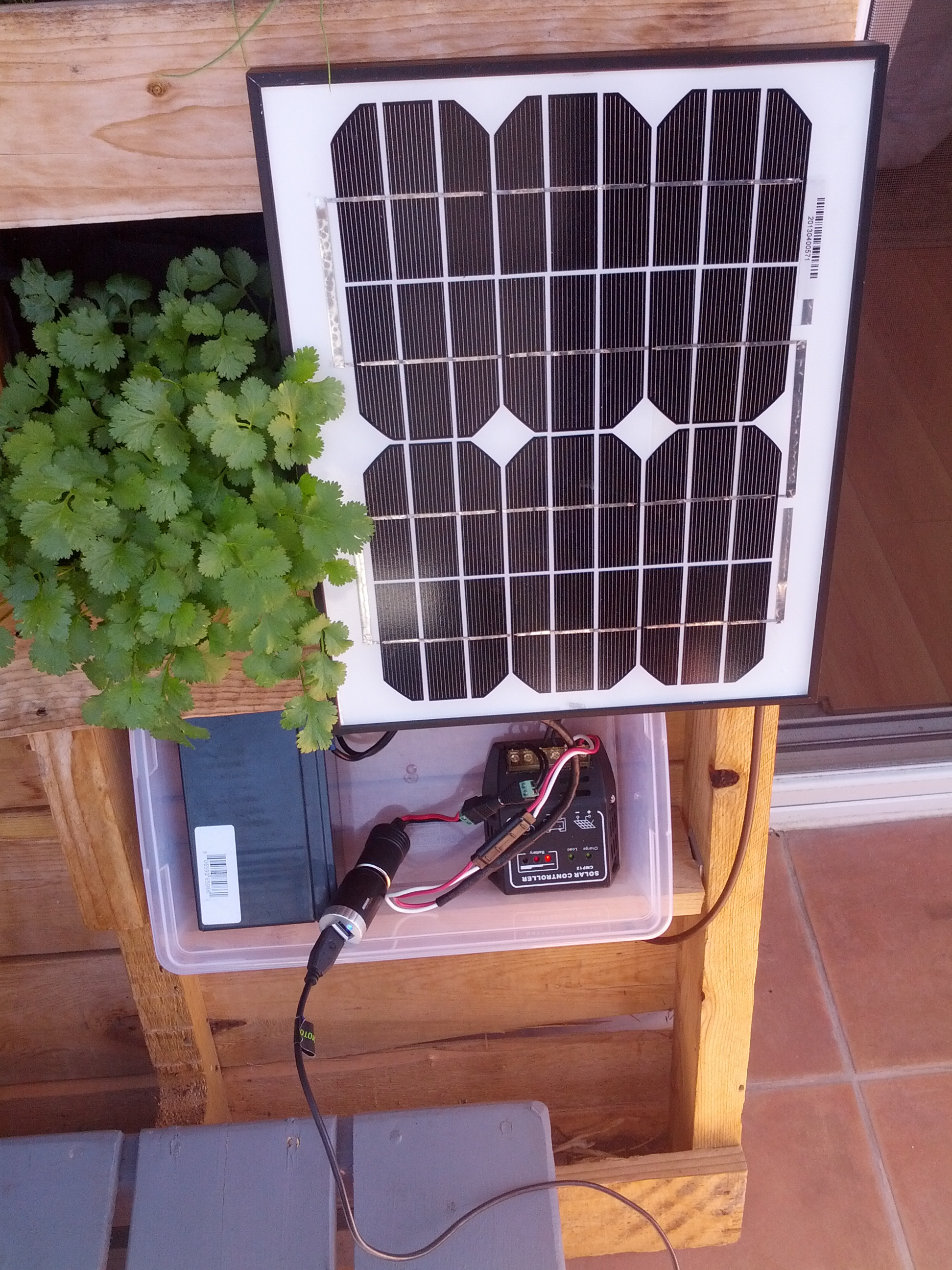 The solar setup for this system was sourced entirely from Amazon. It  consists of four components, which you can see in the image above: A 10W  solar panel, ...